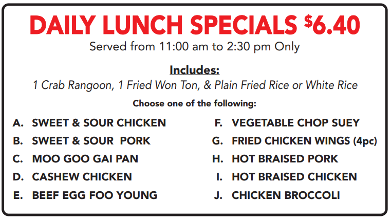 Lunch Specials 4.89